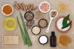 Ingredienti per la sanità della pelle Fotografie Stock Libere da Diritti