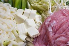 Ingredienti per lo shabu-shabu Fotografie Stock Libere da Diritti