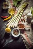 Ingredienti per produrre una marinata saporita Fotografia Stock Libera da Diritti