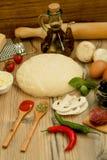 Ingredienti per una pizza del vegano Fotografie Stock