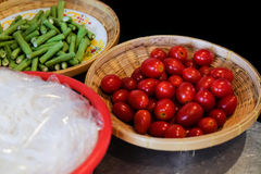 Ingredienti popolari tailandesi dell'insalata della papaia fotografia stock