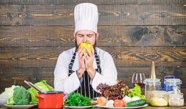 Ingredienti possibili pi? freschi Il cuoco unico usa le verdure organiche fresche per il piatto Pasto vegetariano Alimento biolog immagini stock libere da diritti