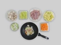 Ingredienti pronti per il wok Immagini Stock Libere da Diritti