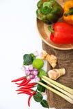 Ingredienti tailandesi del condimento dell'alimento di Tomyum su fondo bianco Immagini Stock Libere da Diritti