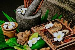 Ingredienti tradizionali della ricetta della stazione termale immagine stock