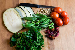 Ingredienti vegetariani per cucinare Fotografia Stock Libera da Diritti
