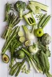 Ingredienti verdi della verdura e della frutta Fotografia Stock Libera da Diritti
