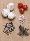Ingredients. Different ingredients for meals on a wood cutting board Royalty Free Stock Photography