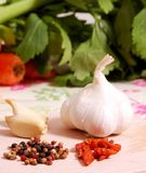 Ingredients. Grain pepper garlic cellery and chillies Stock Photos
