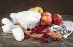 Ingredients for apple cranberry cake Royalty Free Stock Photos