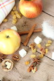 Ingredients for apple pie cooking Stock Image