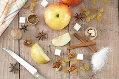 Ingredients for apple pie cooking Stock Images