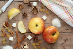 Ingredients for apple pie cooking Royalty Free Stock Photo