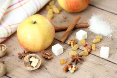 Ingredients for apple pie cooking Royalty Free Stock Photography