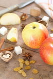 Ingredients for apple pie cooking Royalty Free Stock Images