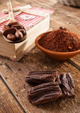 Ingredients for artisan chocolate Stock Image