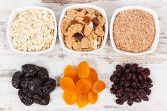 Ingredients as source natural vitamins and dietary fiber, healthy nutrition concept. Ingredients as source vitamins, dietary fiber and natural minerals, concept Royalty Free Stock Image