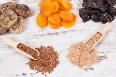 Ingredients as source natural vitamins and dietary fiber, healthy nutrition concept. Ingredients as source vitamins, dietary fiber and natural minerals, concept royalty free stock images