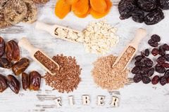 Ingredients as source natural vitamins and dietary fiber, healthy nutrition concept. Ingredients as source vitamins, dietary fiber and natural minerals, concept royalty free stock photography