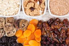 Ingredients as source natural vitamins and dietary fiber, healthy nutrition concept. Ingredients as source vitamins, dietary fiber and natural minerals, concept Stock Image