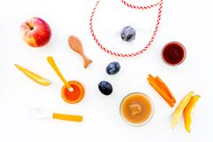 Ingredients for baby puree. Assortment of flavors of baby food. Vegetables and fruits. Apple, carrot, pumpkin, prune royalty free stock photography