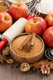 Ingredients for baking apple pie, vertical Royalty Free Stock Image