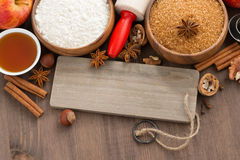 Ingredients for baking apple pie and a wooden nameplate, closeup Royalty Free Stock Images