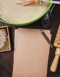 Ingredients for baking and blanked notepad for recipes Royalty Free Stock Photos