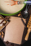 Ingredients for baking and blanked notepad for recipes Stock Image