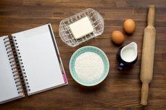 Ingredients for baking cake (eggs, flour, milk Royalty Free Stock Image