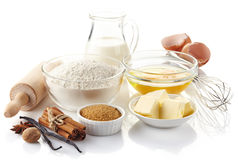 Ingredients for baking cake. Isolated on white background royalty free stock photos