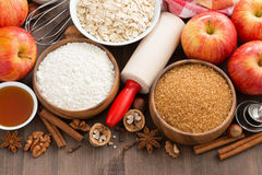 Ingredients for baking cake, top view Royalty Free Stock Image