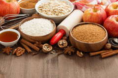 Ingredients for baking cake on a wooden background, horizontal Royalty Free Stock Photos