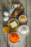 Ingredients for baking carrot cake Stock Photography