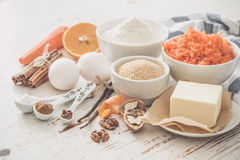 Ingredients for baking carrot cake Royalty Free Stock Photography