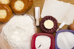 Ingredients for baking cheesecakes Royalty Free Stock Image
