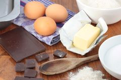 Ingredients for baking chocolate brownies Stock Image