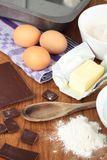 Ingredients for baking a chocolate cake Royalty Free Stock Images