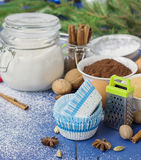 Ingredients for baking Christmas muffins on wooden background. s Stock Photos