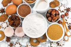 Ingredients for baking, cookies and spices, top view Stock Images