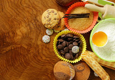 Ingredients for baking desserts cookies, muffins, waffles Stock Image