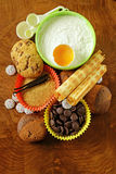 Ingredients for baking desserts cookies, muffins, waffles Royalty Free Stock Photography