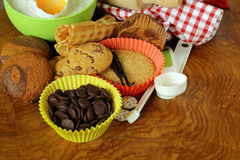 Ingredients for baking desserts cookies, muffins, waffles Royalty Free Stock Photos