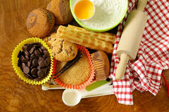 Ingredients for baking desserts cookies, muffins, waffles Stock Photography
