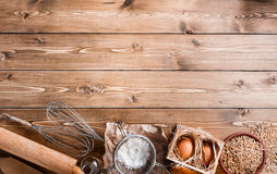 Ingredients for baking on empty light wooden background with pla Stock Photo