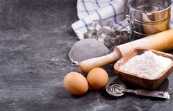 Ingredients for baking and kitchen utensils Stock Photography