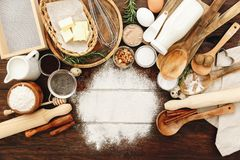 Ingredients for baking. Flour, eggs, sugar royalty free stock photography
