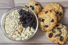 Ingredients for baking healthy cookies and ready cookies Stock Photos