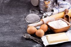 Ingredients for baking and kitchen utensils Stock Photos