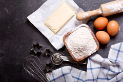 Ingredients for baking and kitchen utensils Stock Photo